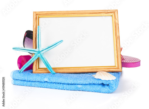 Beach towel on white background