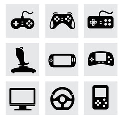 vector video game and joystick icons set