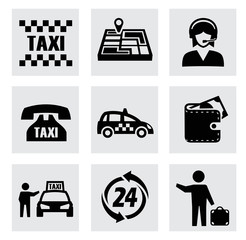 vector taxi icons set