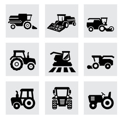 vector black agricultural transport icons set