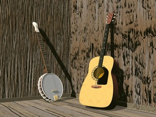 Banjo and guitar- 3D render