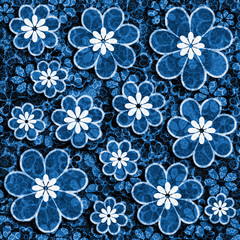Blue Grunge Flower Scrapbook Paper