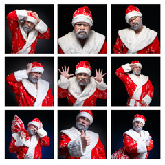 Collage of emotions Santa Claus