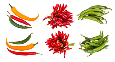 set of hot spicy pepper pods