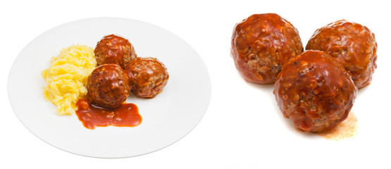 portion of roasted meatballs