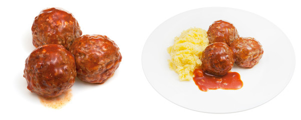 meatballs under meat sauce and mashed potato
