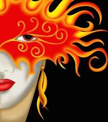 donna con maschera di fuoco
