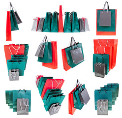 several paper shopping bags