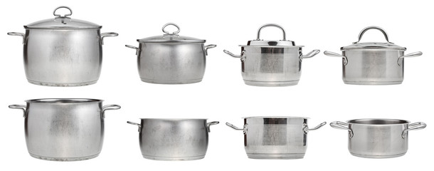 set of stainless steel saucepans