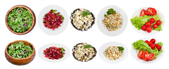 set of typical salads