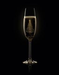 бокал шампанского с елкой