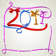 Colorful ribbons New Year 2014 greeting card