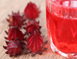 Closeup of roselle with drink