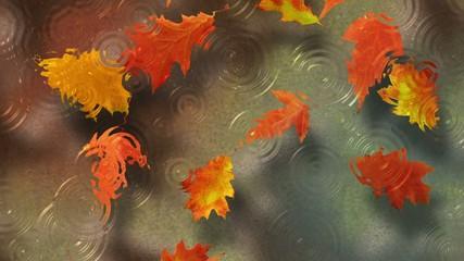 Осенние листья под дождем плывут по течению реки