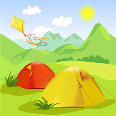 camping and mountain landscape