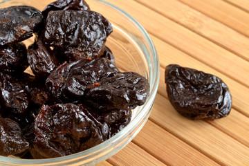 prunes in a glass dish