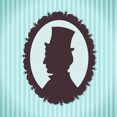 Man in top hat silhouette portrait against striped background