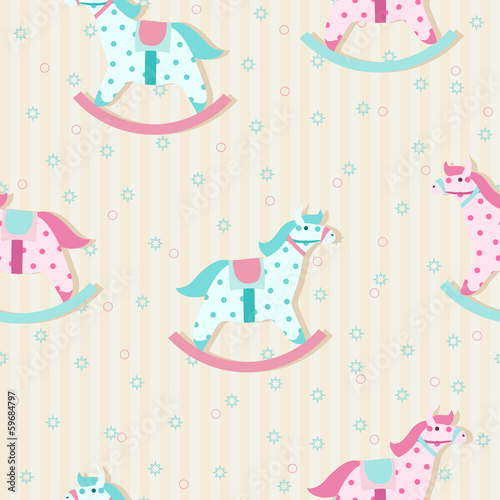 Colorful children pattern with rocking horses in pastel colors