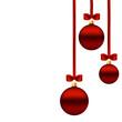 набор красных шаров елочных украшений на лентах с бантами