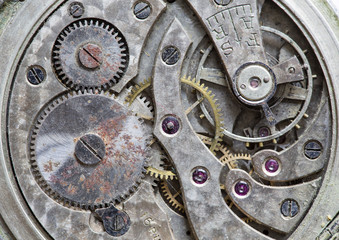 Macro view of a pocket watch machinery