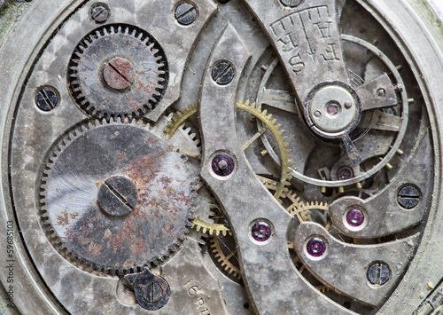 Macro view of a pocket watch machinery