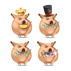 Pig and money. Vector vormat