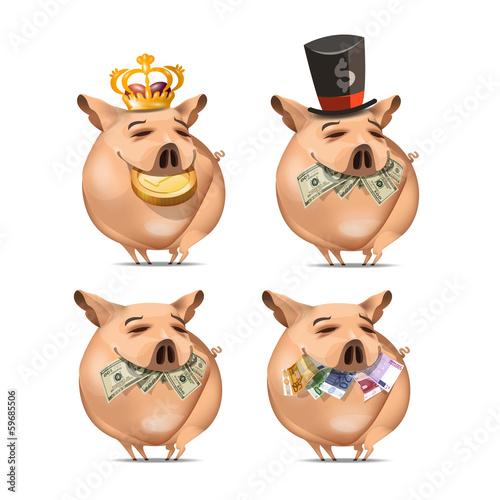 Pig and money. Vector vormat