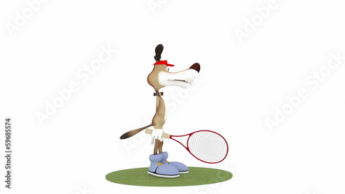 The 3D dog plays tennis.