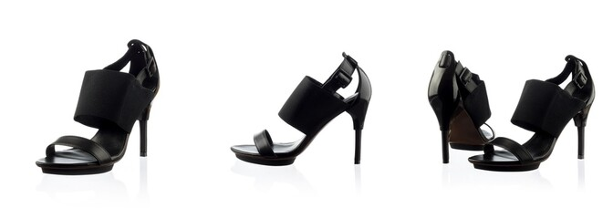 Black female shoes over white