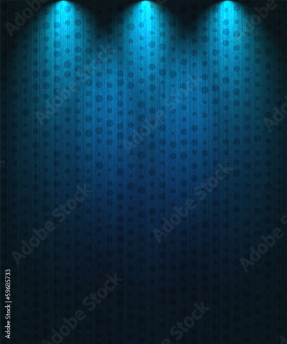 Poster Licht, schaduw Spotlight background blue
