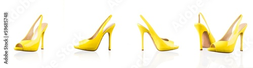 Yellow female shoes over white