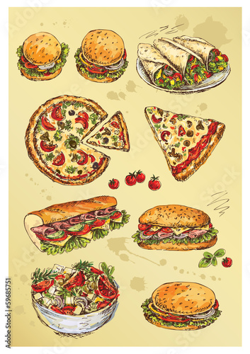 hand drawing  set of sandwiches,pizza