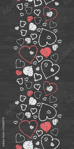 Vector chalkboard art hearts vertical border seamless pattern