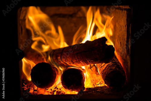 obraz lub plakat Fire in fireplace