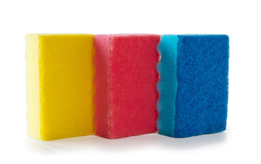 Colored sponges  isolated on a white background