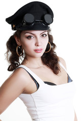 brunette girl in a military cap