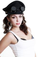 brunette girl in a military cap