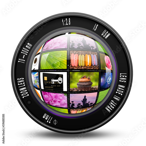 Camera photo lens with internet production technology concept,le