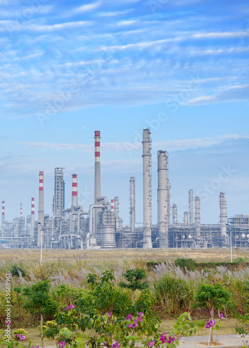 gas processing factory. landscape with gas and oil industry