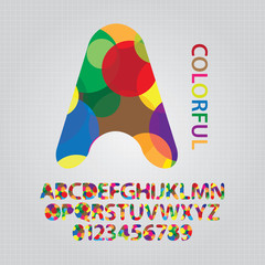 Colorful Overlap Circle Alphabet and NUmbers Vector