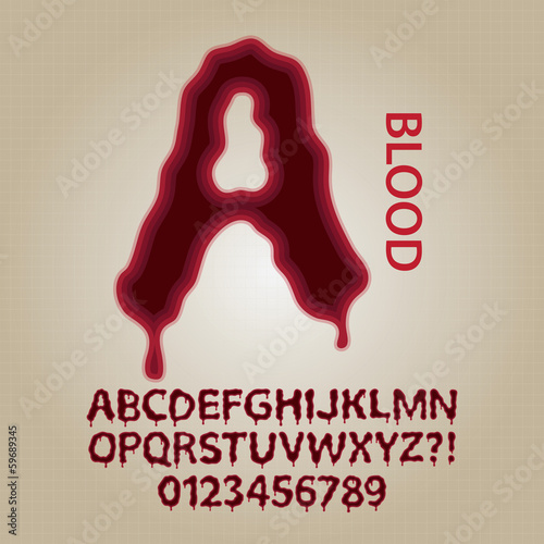 Red Blood Alphabet and Numbers Vector