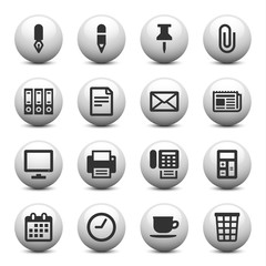 Office icons on gray buttons