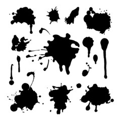 Set of grunge ink splashes. EPS 8 + jpg