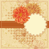 Vector Vintage Floral Frame With Blooming Dahlia.