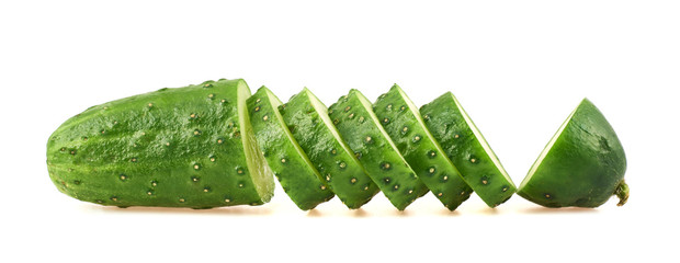 Sliced cucumber isolated