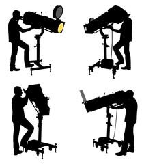 follow spot operator silhouettes - vector