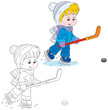 Little hockey player