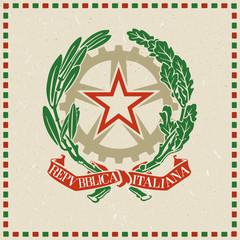 Stemma della repubblica italiana stampato su carta riciclata