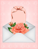 beautiful gift card with pastel roses