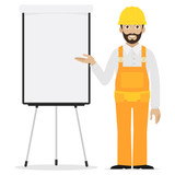 Builder points to flipchart